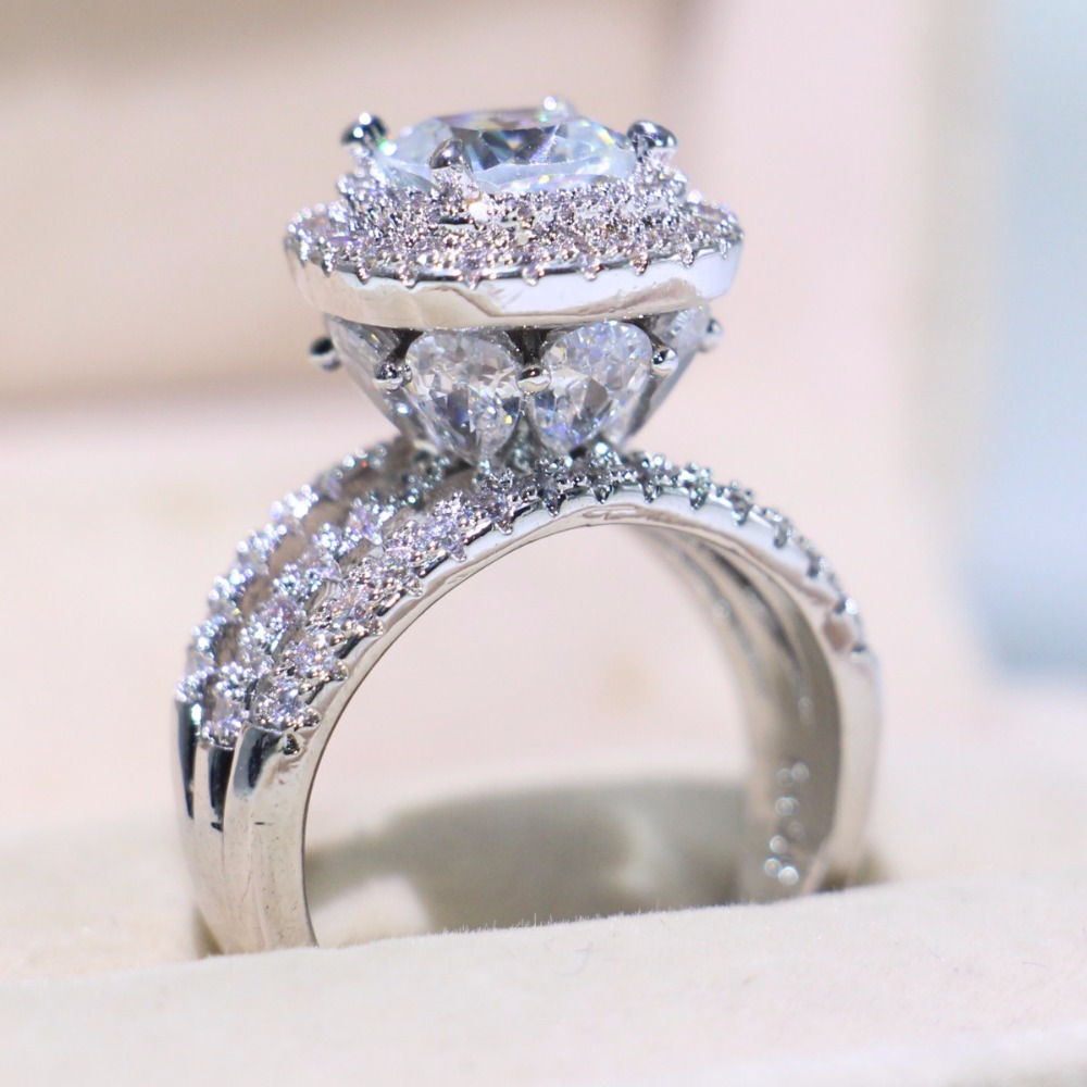 Crown Wedding Ring Sparkling Luxury Jewelry 925 Silver