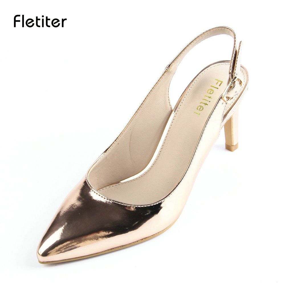 Fletiter 2018 New Fashion Woman Sandals High Heels Genuine Leather Sandals Women Shoes Ladies Shoes Summer Sandals