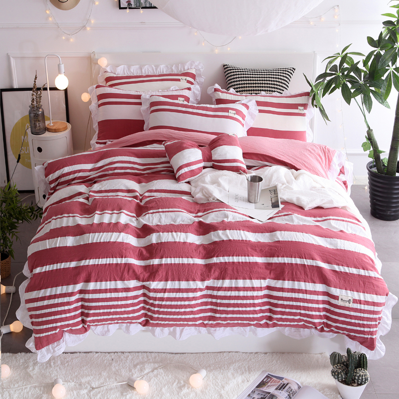 beautiful white queen size beds from us stores | Red and white stripes Korean bedding set beautiful ...