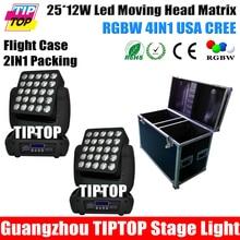 2IN1 Flightcase Пакет Глава 25 Led Матрица Moving Головной Свет RGBW 4IN1 Cree Лампы 12 Вт LED Единый Орган Управления, Светодиодные Этапе Аудитории Свет