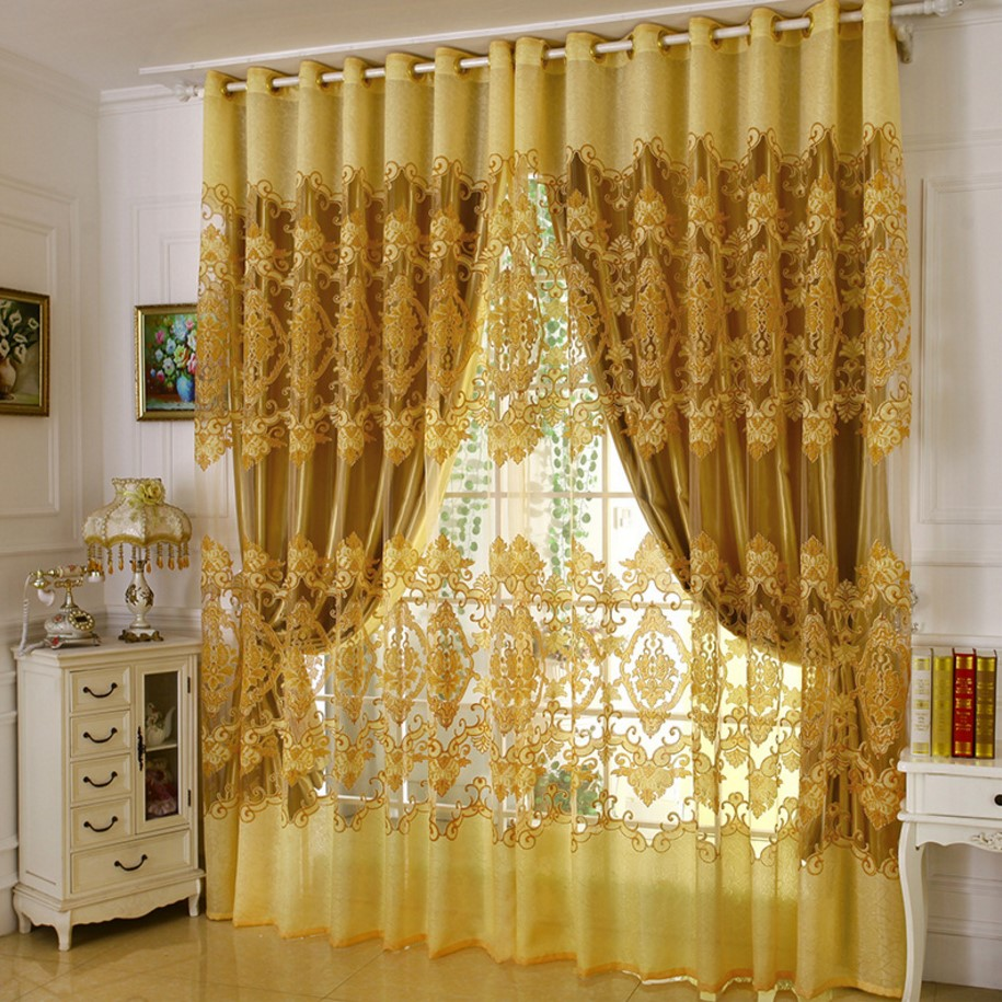 Cheap red curtains - Home Curtains For Windows Burnout Tulle Decoration Yellow Red Purple Sheers Blackout Curtains For Living Room