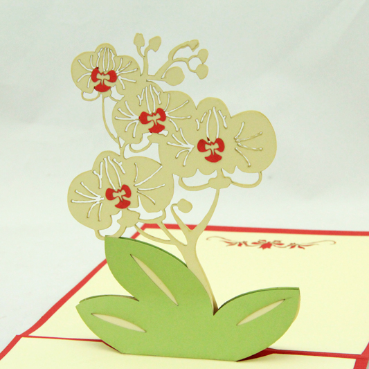 Butterfly orchid thank you card/3D kirigami postcards/ handmade - butterfly thank you cards