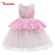 Summer Girls Splice Flower Lace  Princess Dress Children Tutu  Dresses Girls Dance Piano Wedding Gown