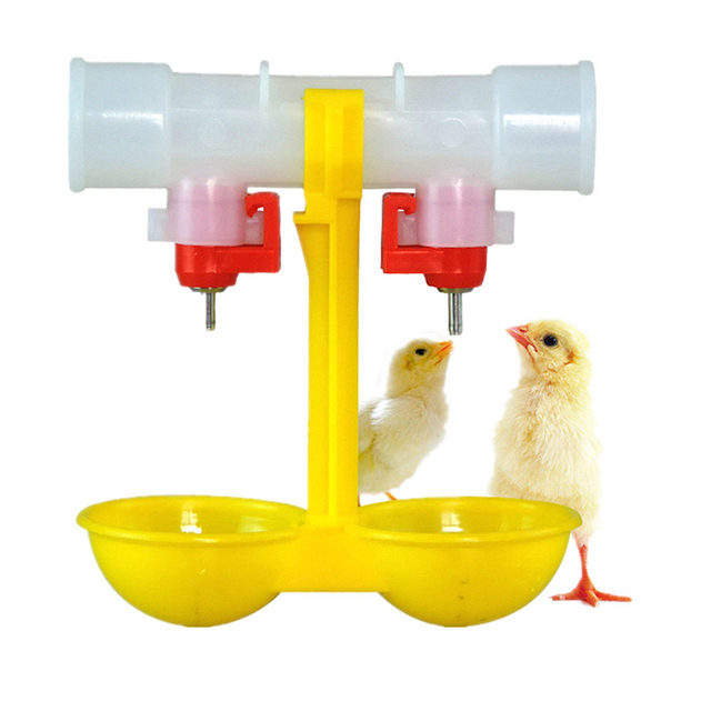 Automatic Poultry Chicken Feeder Water Bird Coop Chicken Fowl Double 2-Head Drinker Cup Plastic Chicken Feeder G01573