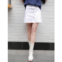2017 new mori girl White denim skirt bust preppy style all-match tassel flash single breasted short skirt a-line skirt