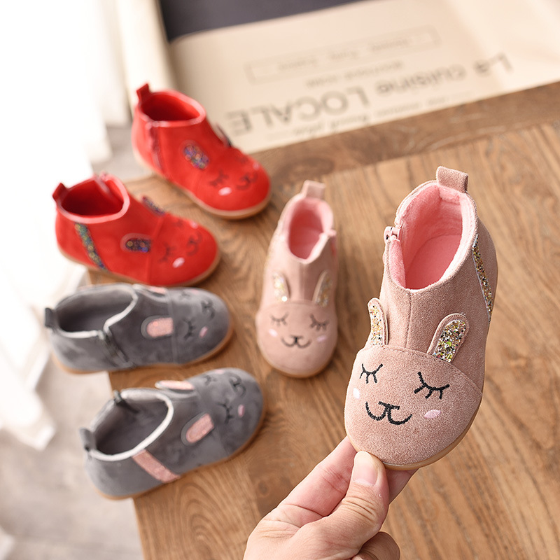 2019 Girls Snow Boots Children's Short Tube Boots Cartoon Boy Cotton Boots Plus Velvet Baby Autumn New Children's Shoes
