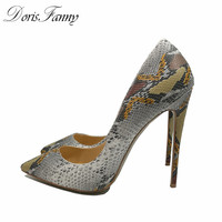 DorisFanny Black Silver Glitter Women Pumps High Heels Sexy Stiletto Shoes Size 11 42