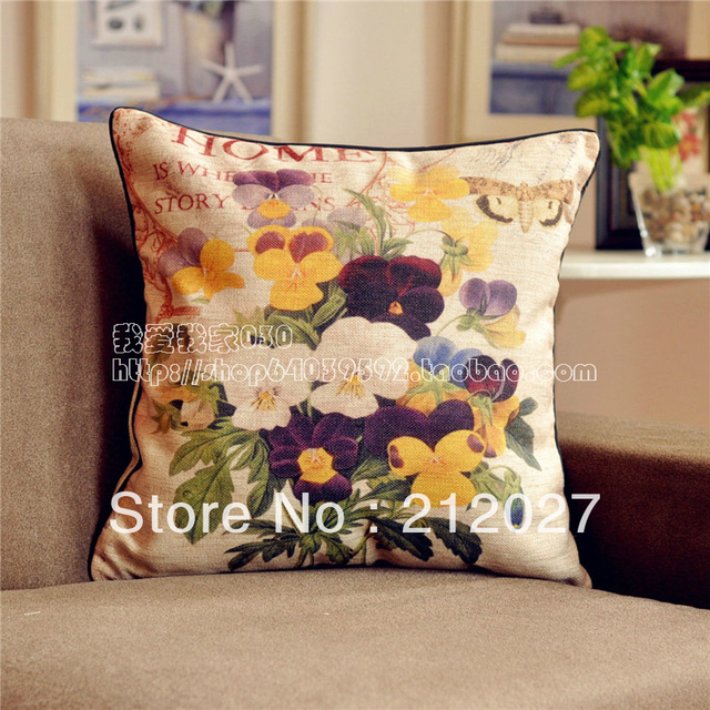 Free Shipping French Country Retro Vintage Fl Cotton Linen Decoratvie Cushion Cover Pillow 45cm X45cm In From Home Garden On