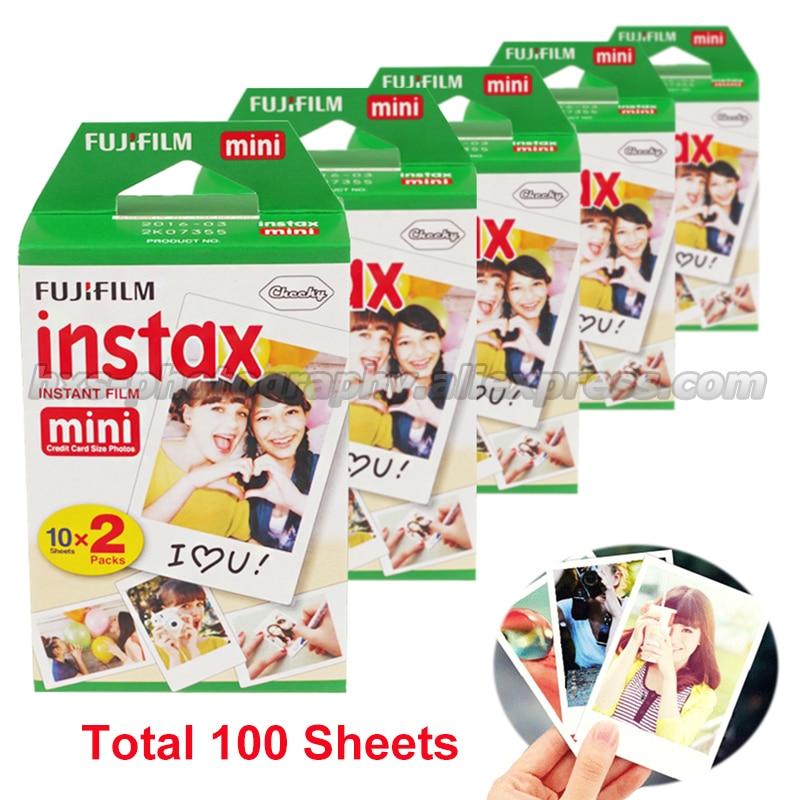 Prix pour Fujifilm Fuji Instax Mini 8 100 Film Blanc Pour 8 7 7 s 50 s 90 25 dw 50i Partager SP-1 Polaroid Photo Instantanée Caméra Livraison gratuite