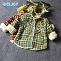2017 Children Clothing Boy Checkered Shirt Winter Plus Cashmere Thickening Thing Boy Jacket Suit Fashion Section