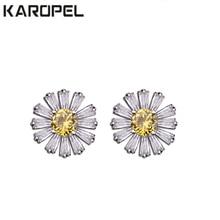 Korean Little Daisy Zircon Crystal Earrings Anti Allergy Small Sun Flower Stud pendientes mujer moda