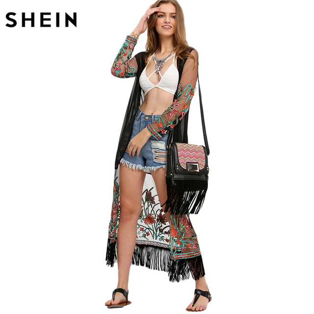SHEIN Multicolor Floral Loose Casual Long Sleeve Tops Womens Open Front Transparent Emboridred Tassel Long Kimono
