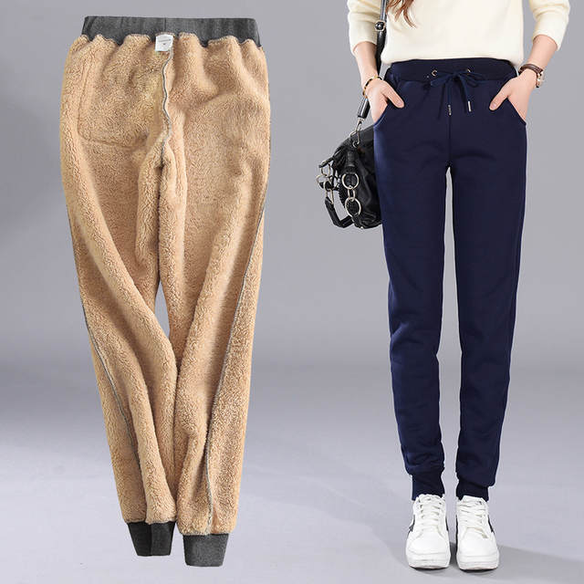 b0f421afa13b placeholder High Quality Womens Cold Winter Sweatpants Women Wool Pants  Female Baggy Casual Pants Thermal Thick Warm