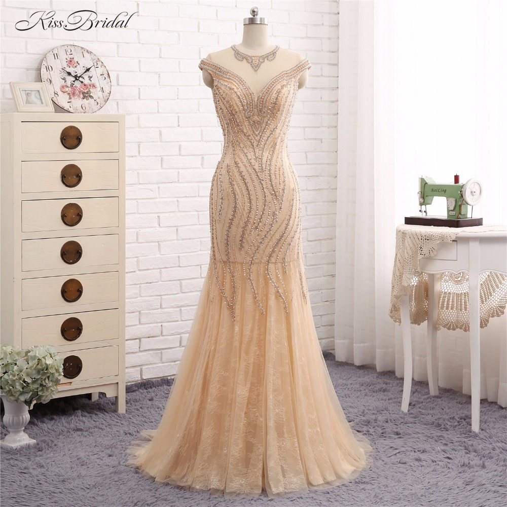 2017   Evening     Dresses   Long Vestido de Festa Mermaid Short Cap Sleeve Crystal Beaded Formal Party Prom Gown Robe de Soiree