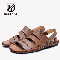 RELIKEY Brand Men Sandals Handmade Genuine Leather Classics Male Beach Shoes Summer Retro Casual Flip Flop