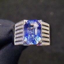 Ювелирные украшения, 18 K, белое золото, Настоящее натуральное яркое синее сапфир, 3.61ct, драгоценные камни, бриллианты, мужские кольца для мужчин, тонкое кольцо