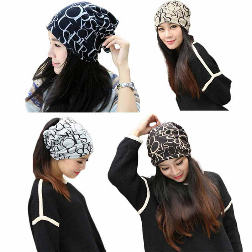 Women caps Classic Fashion Hip-Hop English Letter Multi Purpose Baggy Hat Unisex Scarf Beanie Cap F#J05