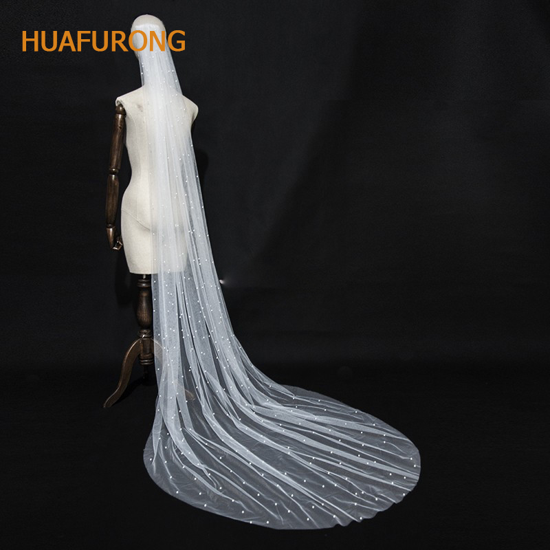 2019 Custom Made White Bridal Veils With Pearls 3meters