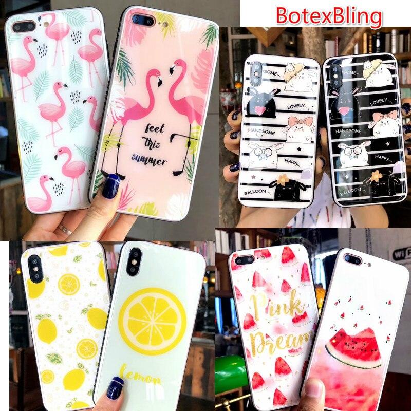BotexBling Lusso sveglio flamingo frutta anguria limone vetro cassa del telefono per iphone X 7 7 plus 8 8 più 6 6 s più 6, più copertura ragazza