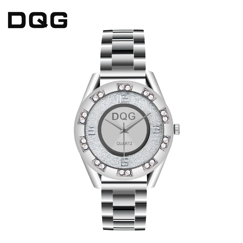 Relogios 2018 Hot Sale Fashion Classic DQG Men Women Luxury Crystal Silver Golden Stainless Steel Casual Quartz Watches Chasy