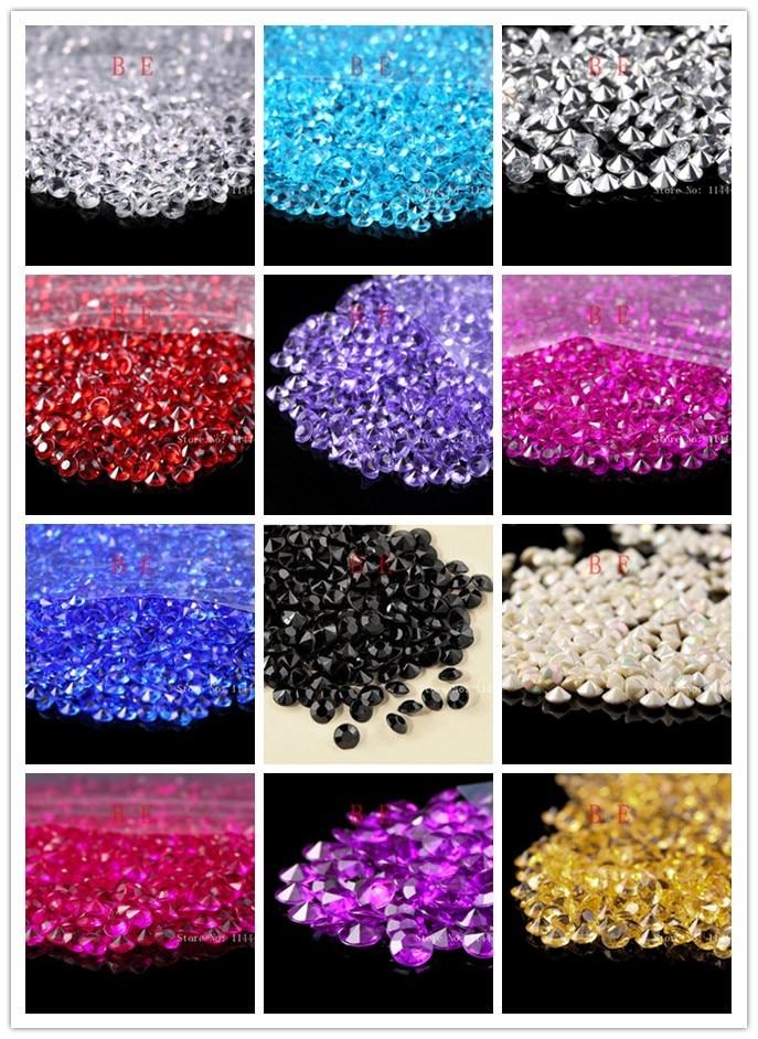 1000 Pcs / Lot 13 Colors 6mm 1Carat Wedding Decoration Acrylic Scatter Table Crystals Diamonds Acrylic Diamond Crystal Confetti