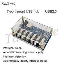 Divisor de concentrador USB de 1 a 7 puertos, módulo USB divisor de siete puertos con fuente de alimentación, expansión USB2.0