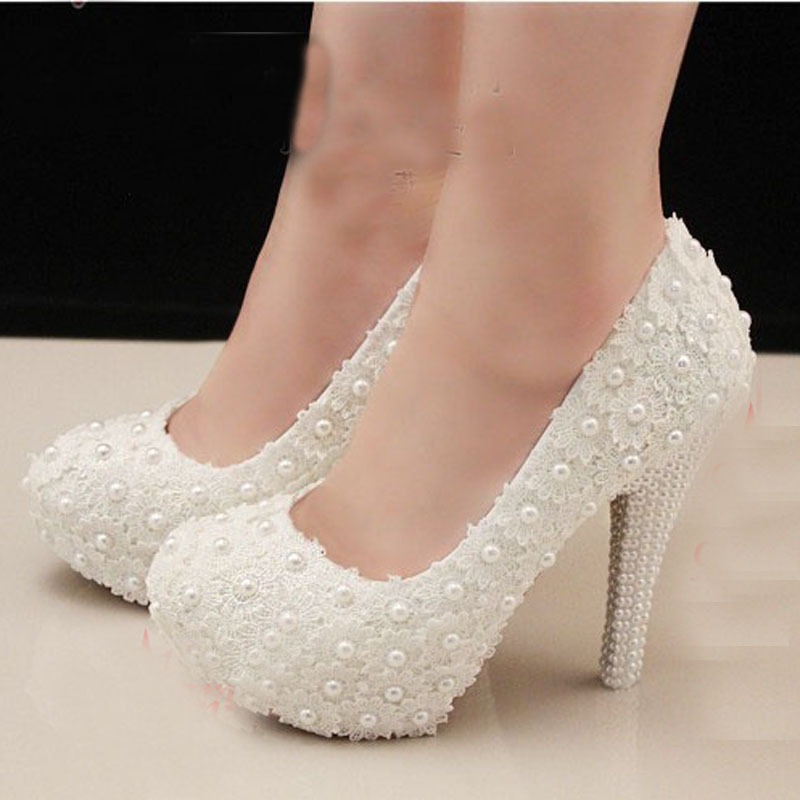 Free Shipping Elegant White Lace Beading Wedding Shoes 4 Inches High Heels Bridal Shoe Bridesmaid Woman Formal Dress Pumps In Women S From