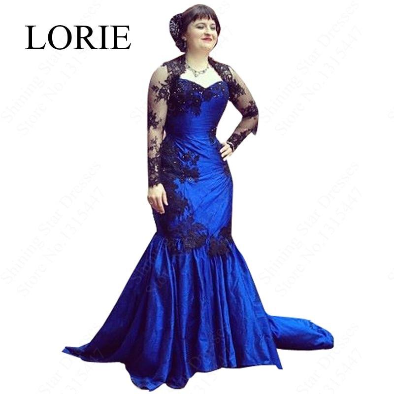 Gothic Royal Blue Mermaid Wedding Dresses Sweetheart Black Vintage Lace Long Sleeve Bridal Gown Vestidos De