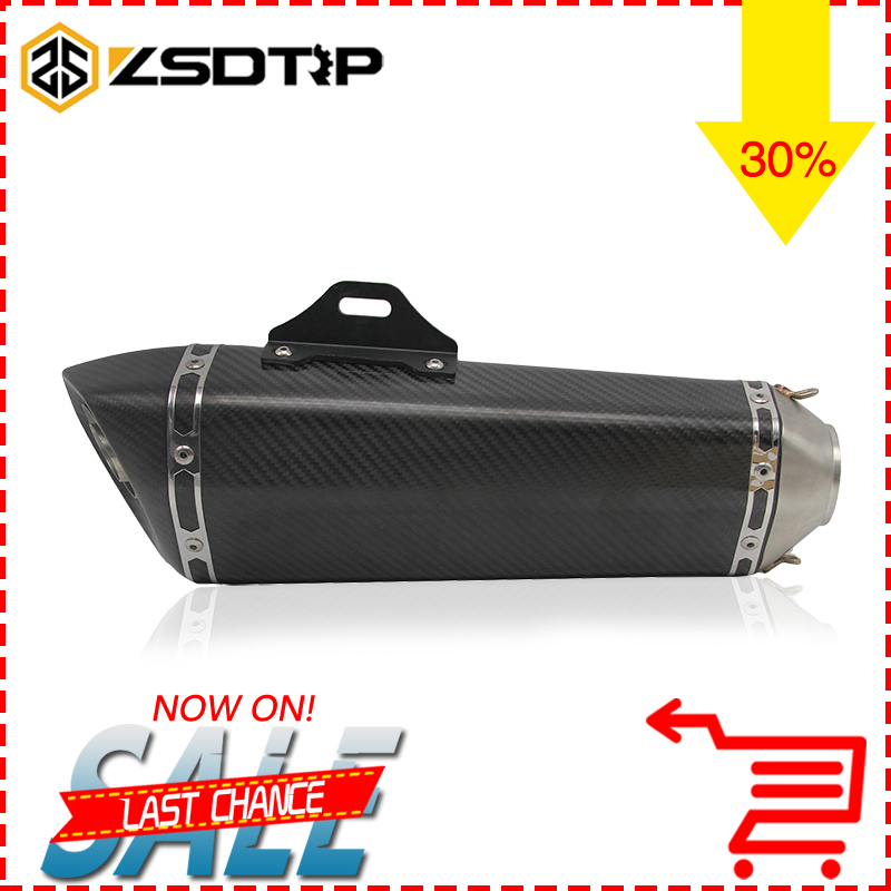 ZSDTRP 51mm Akrapovic Motorcycle Exhaust Carbon Muffler Scooter GP Pipe Dirt Bike For Large Displacement R1 R3 R6 FZ6 ATV