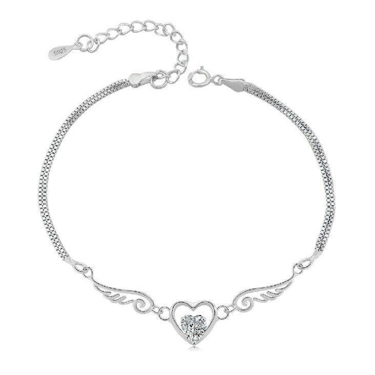 Flyleaf 100% 925 Sterling Silver Duplo Anjo Asas de Cristal Do Encanto Do Coração Pulseiras Para As Mulheres Da Moda jóias Pulseira Feminina