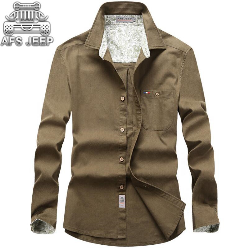 Business Casual Men Dress Shirts New 2017 Autumn White Shirt Camisa Social Masculina Brand AFS JEEP Linen All Match Clothing