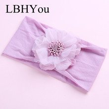 1pc Newborn Girls Flowers Wide Nylon Headbands,Elastic Stretchy Floral Bows Turban Head Wraps,Infants Hair Accessories