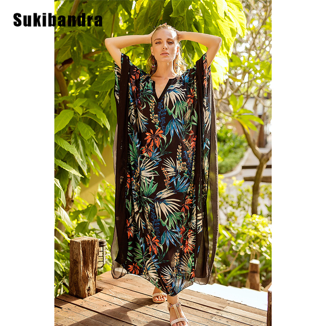 f89c20f57f Sukibandra 2018 Summer Printed Batwing Sleeve Long Maxi Women Dress Loose  Large Size Boho Dresses Bohemian Hippie Beach Dress