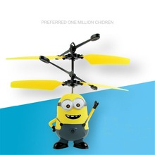 RC Minions Aircraft Induction Quadcopter USB Helicopter Cartoon With Light Movie Periphery Kids Children Toys Birthday presents