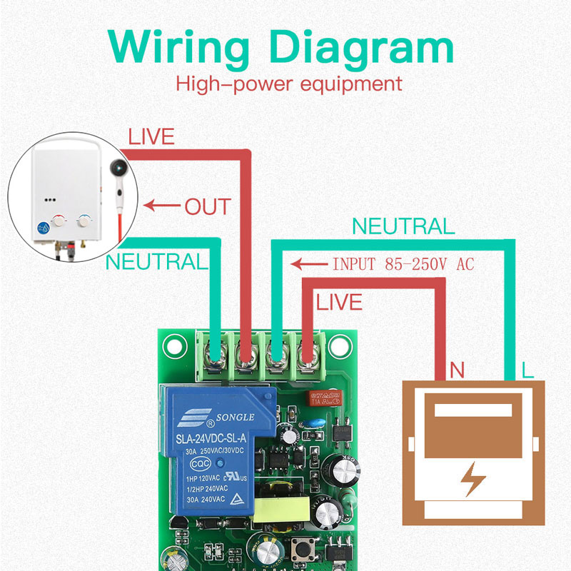 Беспроводной смарт-выключатель для водонагревателя, 110-220 В, 30 А