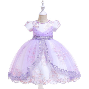 Light Purple Flower Girl Dresses For Wedding  Tulle   Lace Appliques  Tutu Ballgown Party Dress with Pearls Tutu Dresses 2019 eloman 100% handmade tutu dress for girl birthday party princess flower girl tutu dresses for wedding and grand event