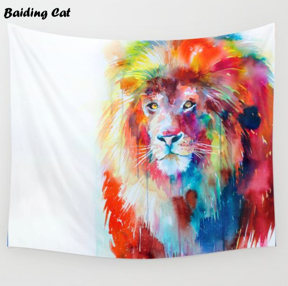 Drop Shipping Nieuwe collectie Lion Elephant Tapestry India Muur - Thuis textiel
