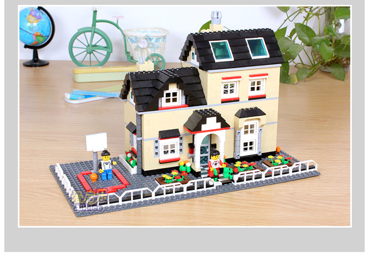 City House bricks streetview Villa Garden fit legoings city house figures Building Blocks Sets Model gifts Kids Children Toys free shipping wange dr luck 32212n 264pcs city girls house garden 3d diy plastic building bricks blocks sets children kids toys