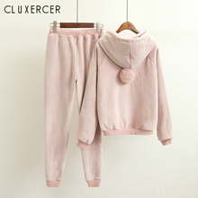 Velvet Tracksuit Two Piece Set Women Sexy Hooded Pink Long Sleeve Top And Pants Bodysuit Suit Runway Fashion Outfit