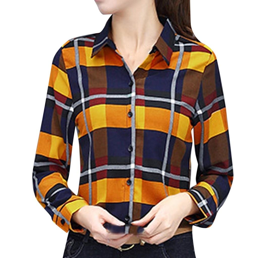 SAGACE Fashion Women   Blouses   Casual Business   Shirt   Lattice Printing Long Sleeve Lapel   Blouse     shirts   for women top female fashion
