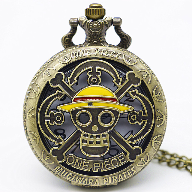 Vintage One Piece Theme Skull Pattern Hollow Quartz Pocket Watch With Pendant Ne