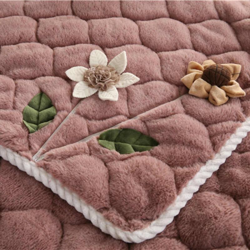 植毛花のソファカバー厚み豪華な本のカバーのための非スリップシートカバーリビングルームコーナー断面ソファカバータオル