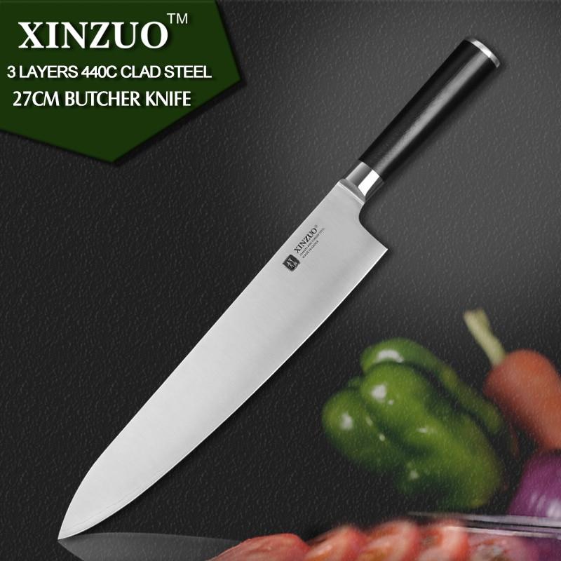 XINZUO 10 5 inch butcher font b knife b font 3 layer 440C clad steel santoku