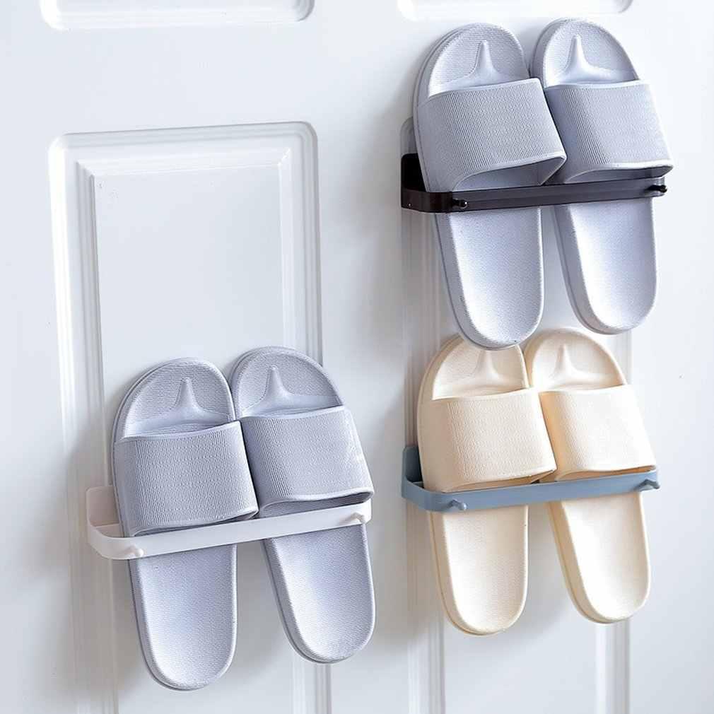 Estilo japonés pasta montado en la pared zapato rack pared estéreo zapatillas de plataforma de rack de almacenamiento de baño estante de pared
