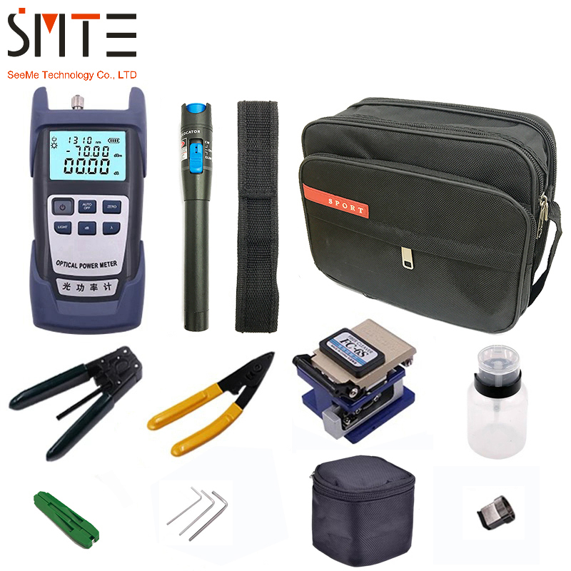 Kit de herramientas de fibra óptica 12 unids/pack FTTH con FC-6S de fibra óptica cleaver medidor de potencia Localizador Visual de fallas alicates de pelado de fibra