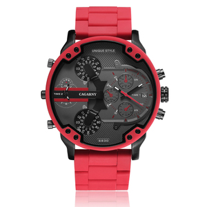 Image 1 - Cagarny Cool Big Quartz Watch For Men Red Silicone Steel Band Sports Wristwatch Man Military Relogio Masculino D7370 Male Clock
