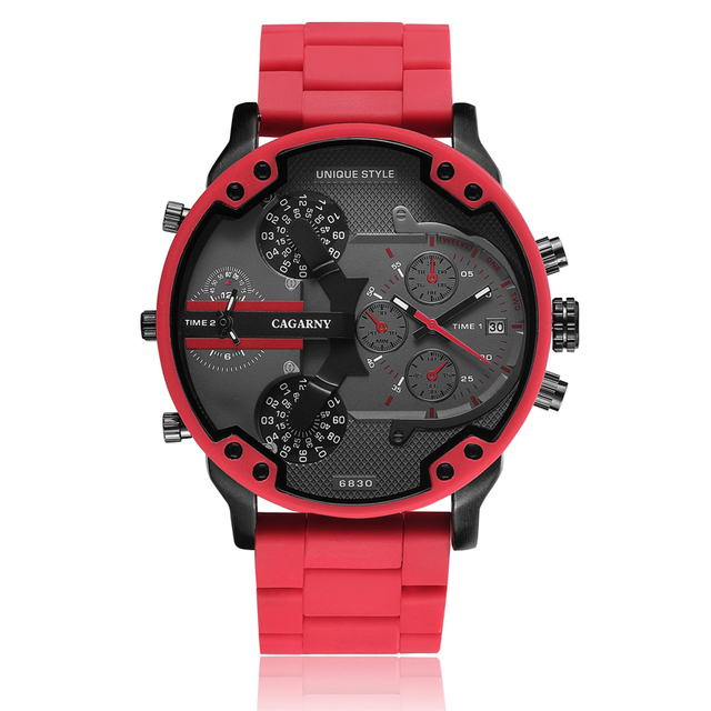 Cagarny Cool Big Quartz Watch For Men Red Silicone Steel Band Sports Wristwatch Man Military Relogio Masculino D7370 Male Clock