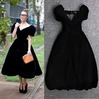 plus size 3XL!autumn winter Black Velvet ball gown Dress women vintage v neck high waist princess party dress