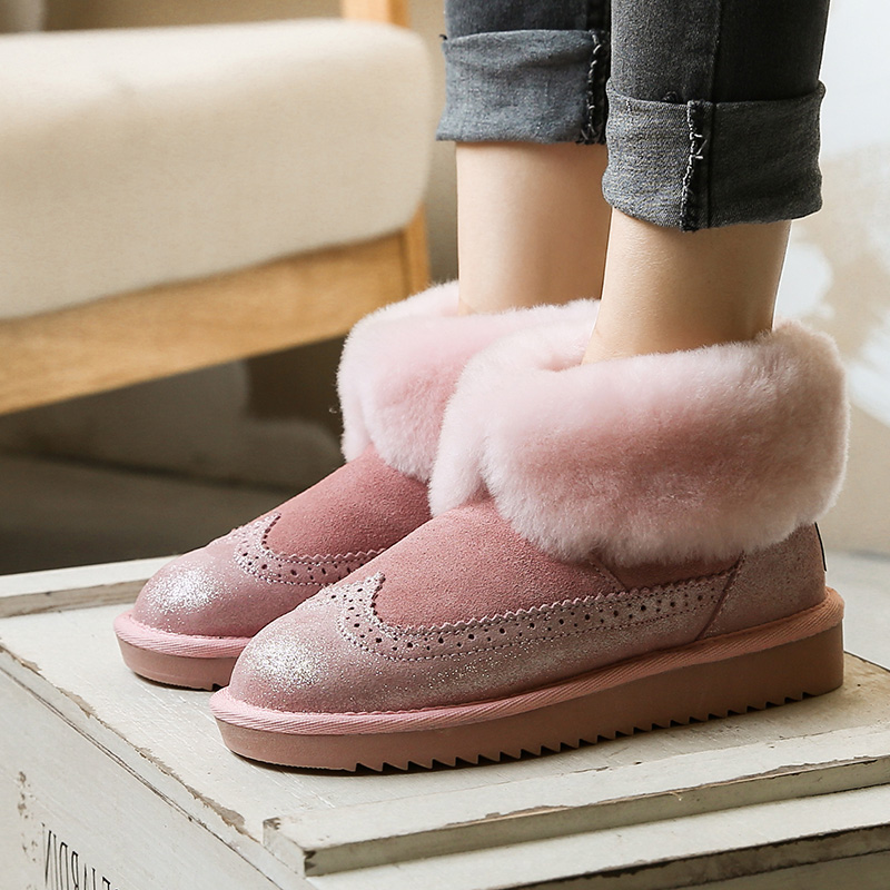 Free Shipping 2017 Winter Women boots 100% Genuine leather snow boots Lady Warm brand women ankle shoes Fur