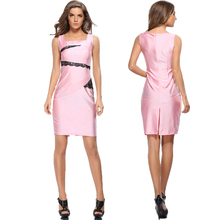 Summer Womens Lace Decorated Sheath Patchwork Office Work Business Bodycon Pencil Dress Women's Sleeveless Midi Dresses